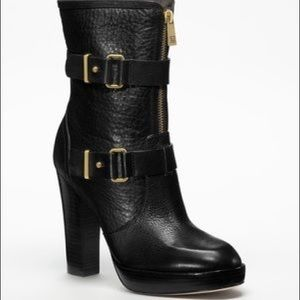 Coach Lianne black leather buckle zip boots